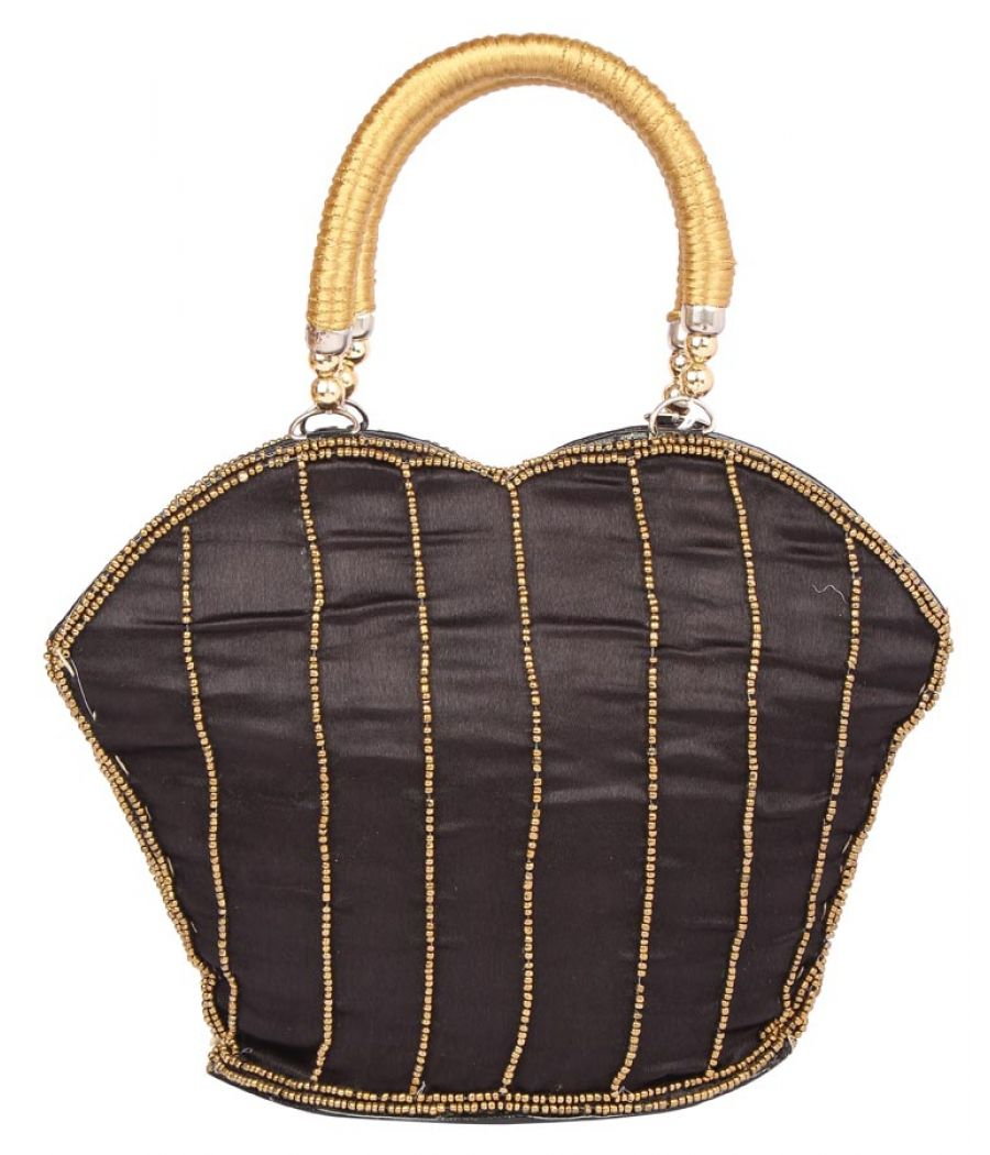 Envie Cloth/Textile/Fabric Embellished Black Zipper Closure Handbag