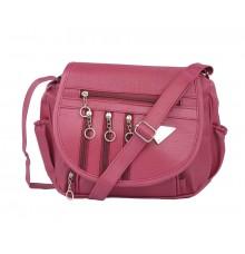 Aliado Faux Leather Magenta  Magnetic Snap Closure Crossbody Bag