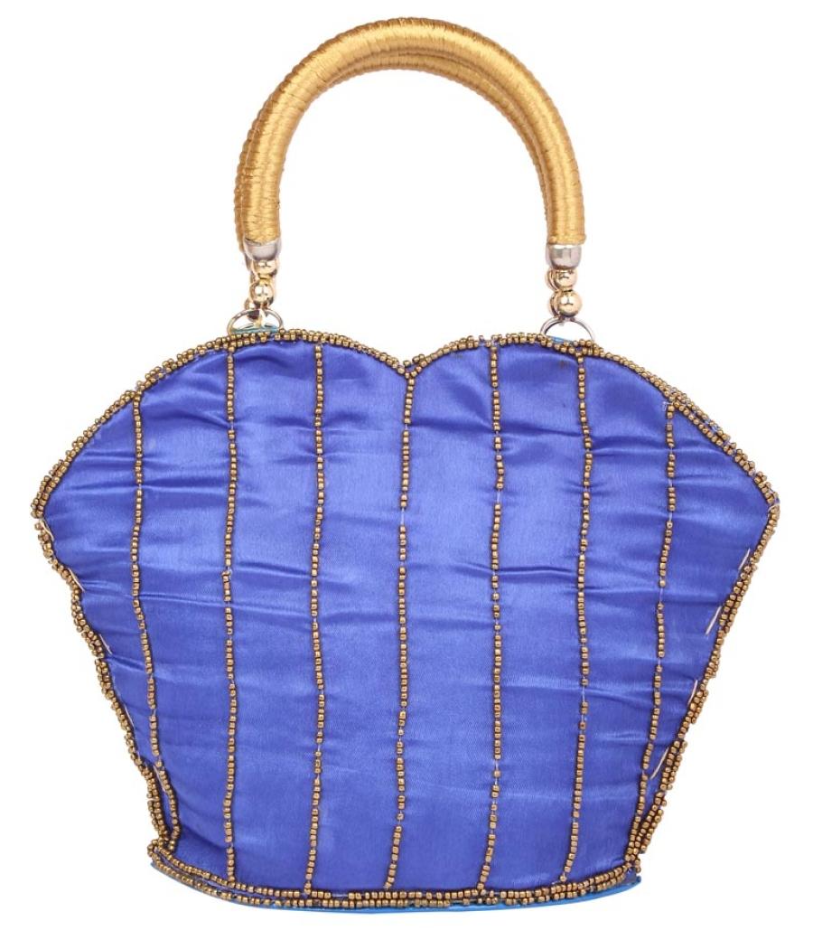 Envie Cloth/Textile/Fabric Embellished Blue Zipper Closure Handbag