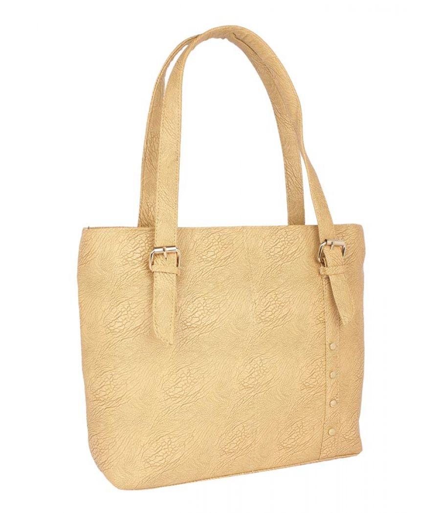 Aliado Faux Leather Mustard Zipper Closure Tote Bag
