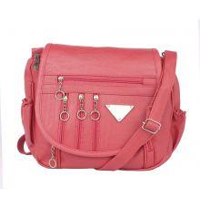 Aliado Faux Leather  Pink Magnetic Snap Closure Crossbody Bag