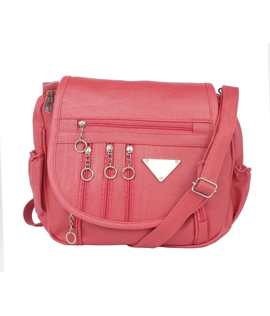 Aliado Faux Leather  Pink Magnetic Snap Closure Crossbody Bag