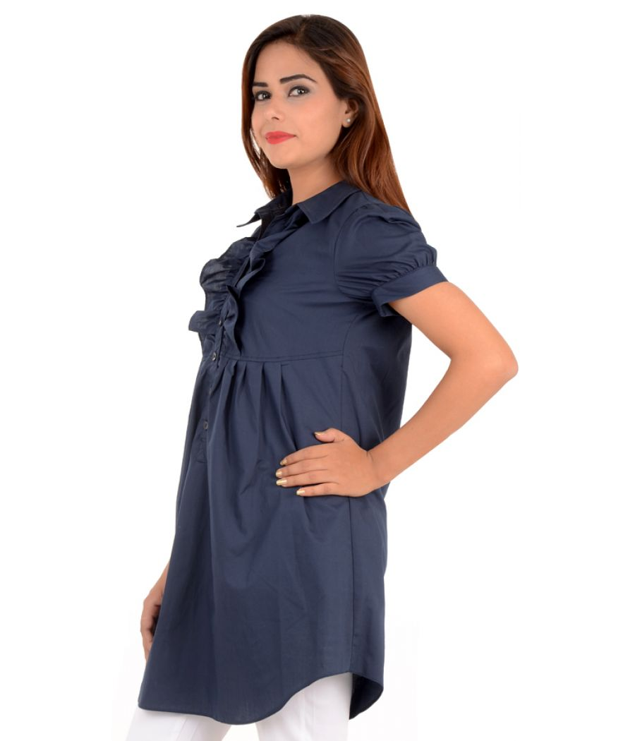 Asos Polyester Frilled Navy Blue Tunic
