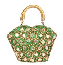Envie Cloth/Textile/Fabric Embellished Green Coloured Zipper Closure Handbag