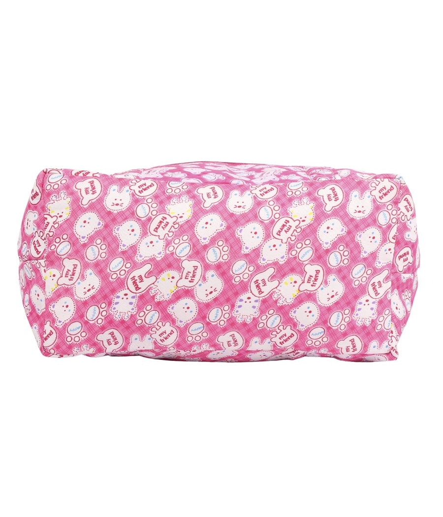 Aliado Cotton Pink and White Printed Zipper Closure Bag