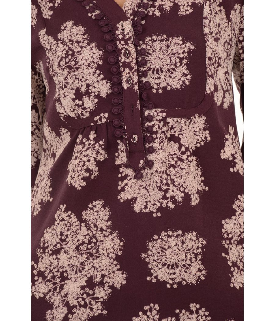 Laura Ashley Polyester Floral Printed Purple Dress