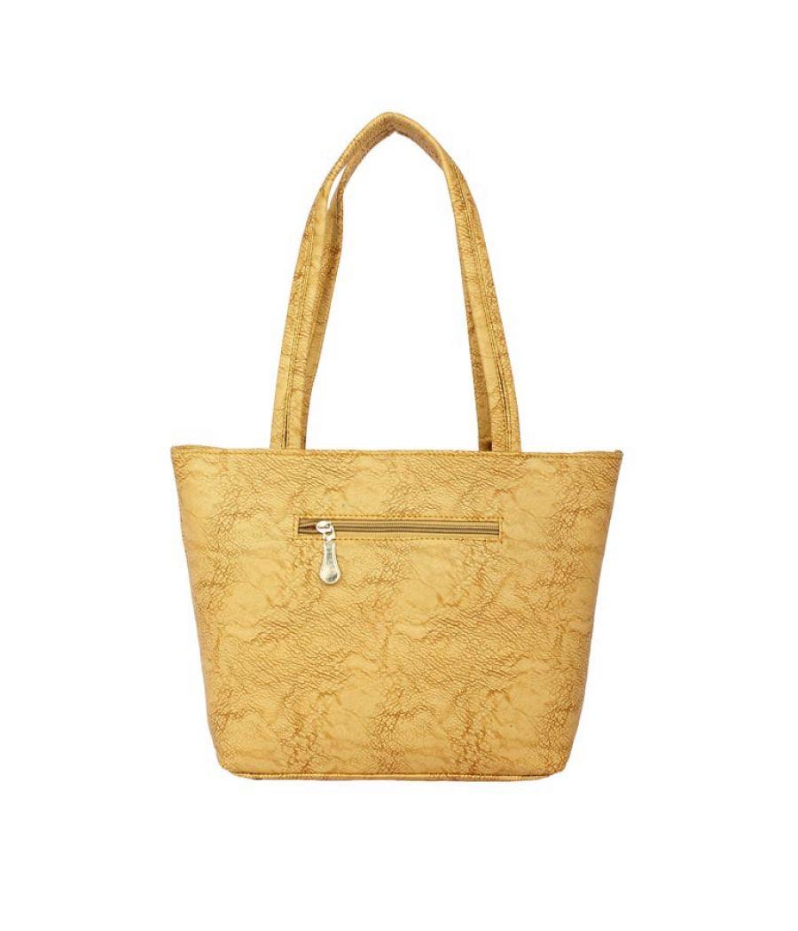 Aliado Faux Leather Yellow Coloured Zipper Closure Handbag