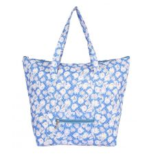 Aliado Cotton  Blue and White Printed Zipper Closure Bag