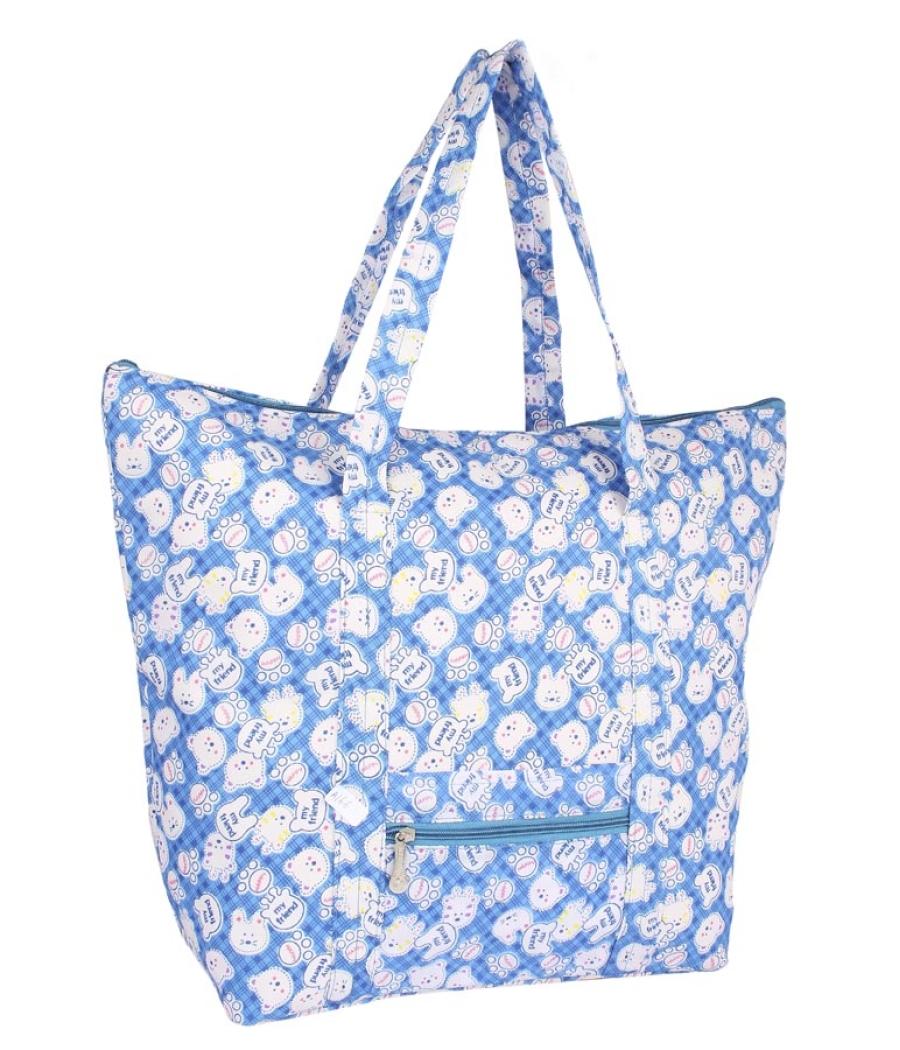 Aliado Cotton  Blue and White Printed Zipper Closure Bag