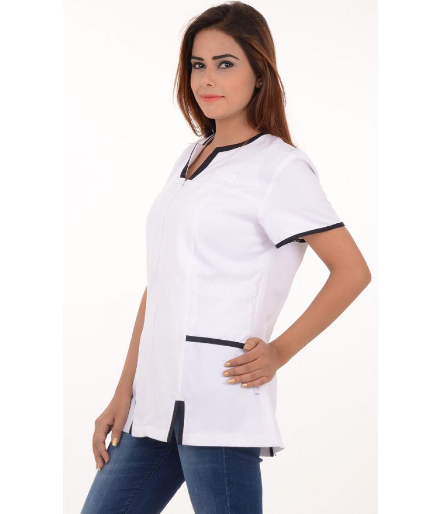 Dimenions Polyester Front Zip White/Black Tunic