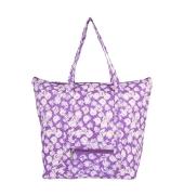 Aliado Cotton Purple and White Printed Zipper Closure Bag