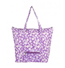 Aliado Cotton Purple and White Printed Zipper Closure Bag