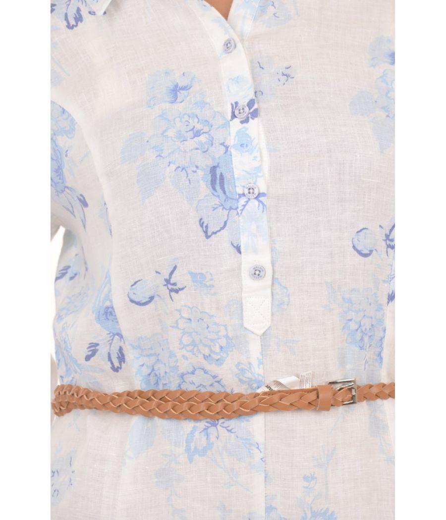 Malvin Linen Floral Print White Shirt Dress