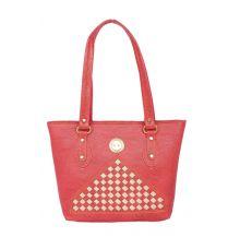 Aliado Faux Leather Pink Coloured Zipper Closure Tote Bag