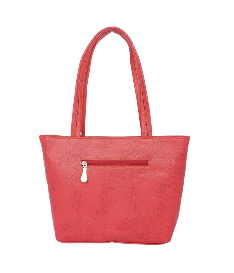 Aliado Faux Leather Pink Coloured Zipper Closure Tote Bag