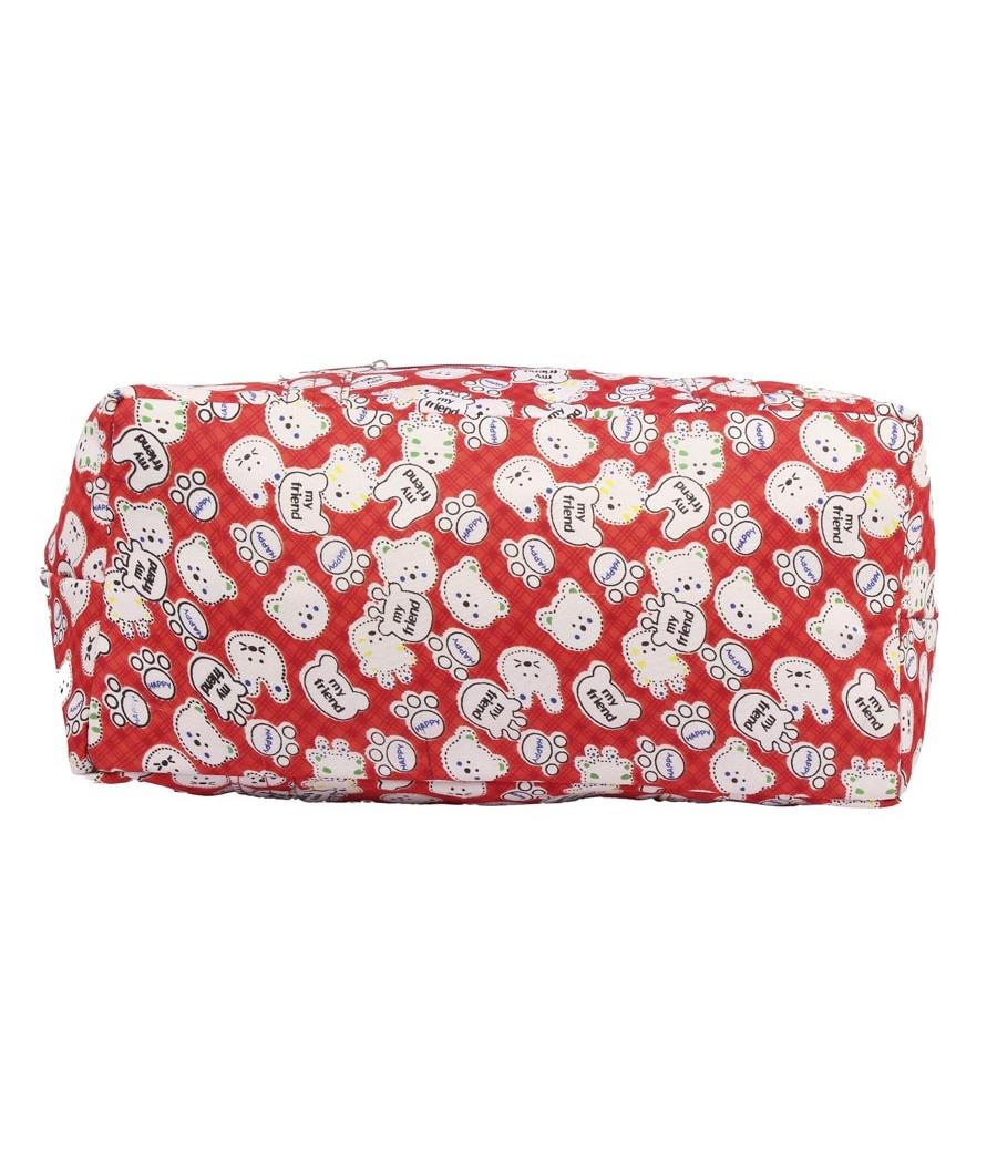 Aliado Cotton Red  and White Printed Zipper Closure Bag