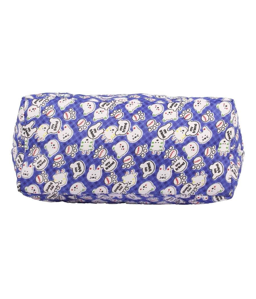 Aliado Cotton Navy Blue and White Printed Zipper Closure Bag