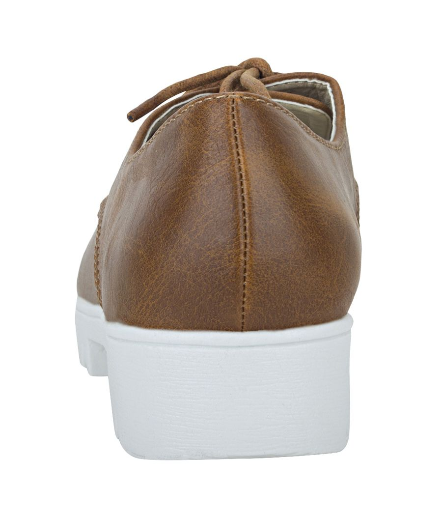 Joy n Fun Frosted Leather Broad Toe Comfortable White Sole Brown Laced Formal Shoes for Boys/ Kids
