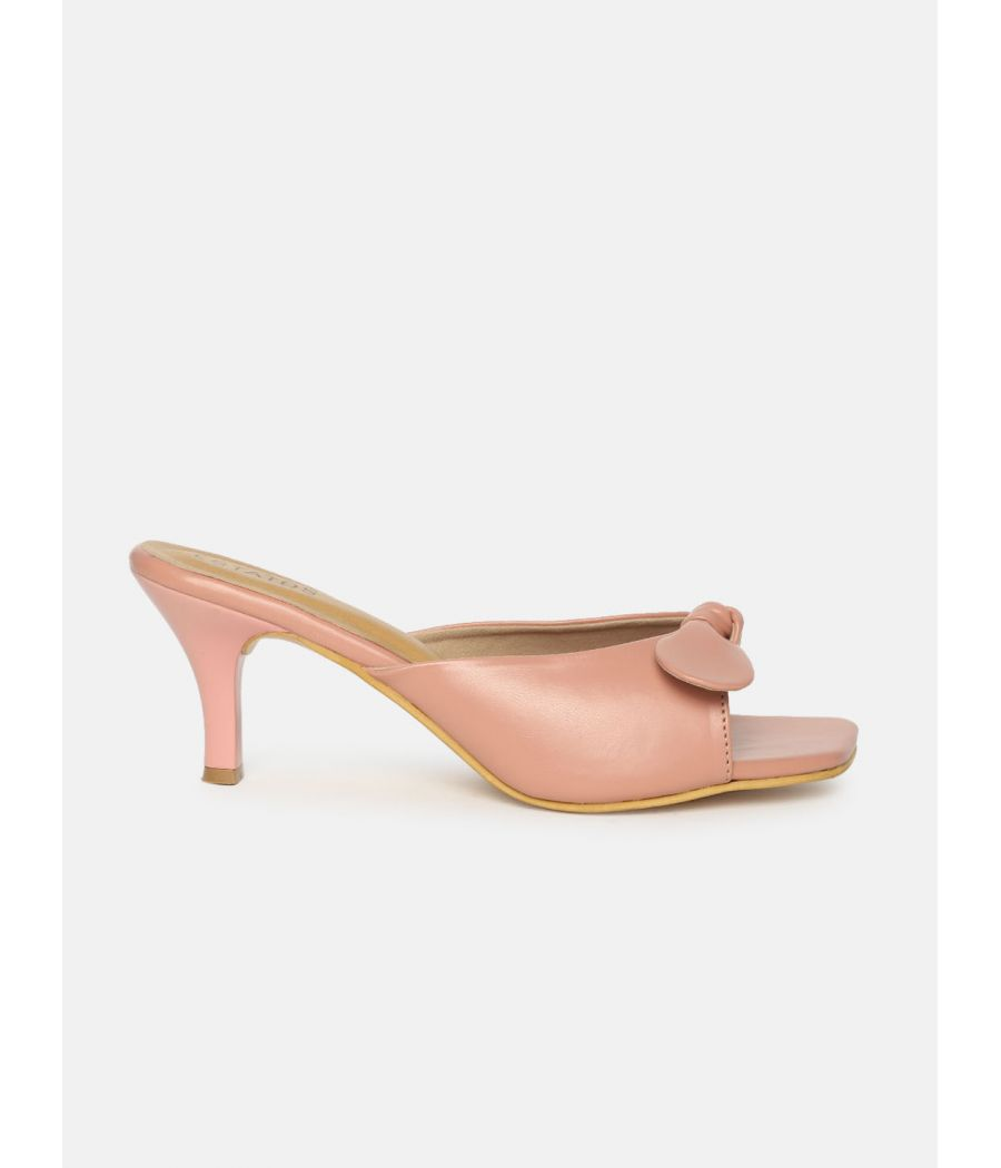 Estatos Synthetic Leather Pointed Heeled Peach Sandals