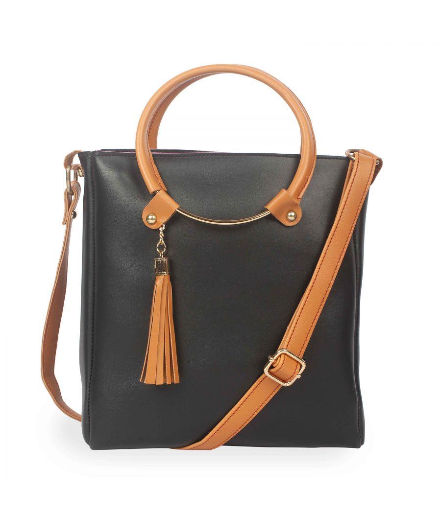 Aliado Polyester Black & Tan Zipper Closure  Sling Bags