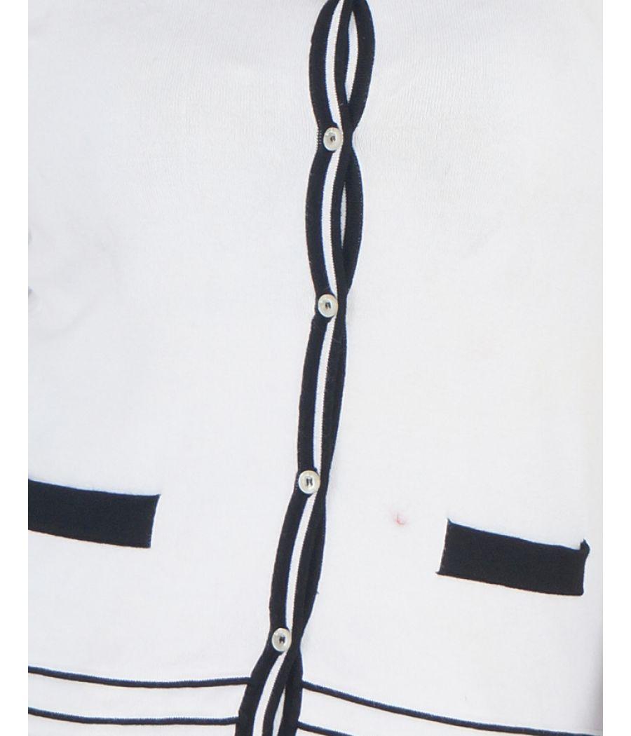 Principles Nylon printed Black & White U Neck Casual Top