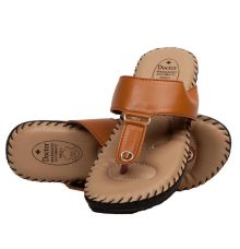 Rudra Collection Synthetic Leather Brown T Strap Platform Flip Flop