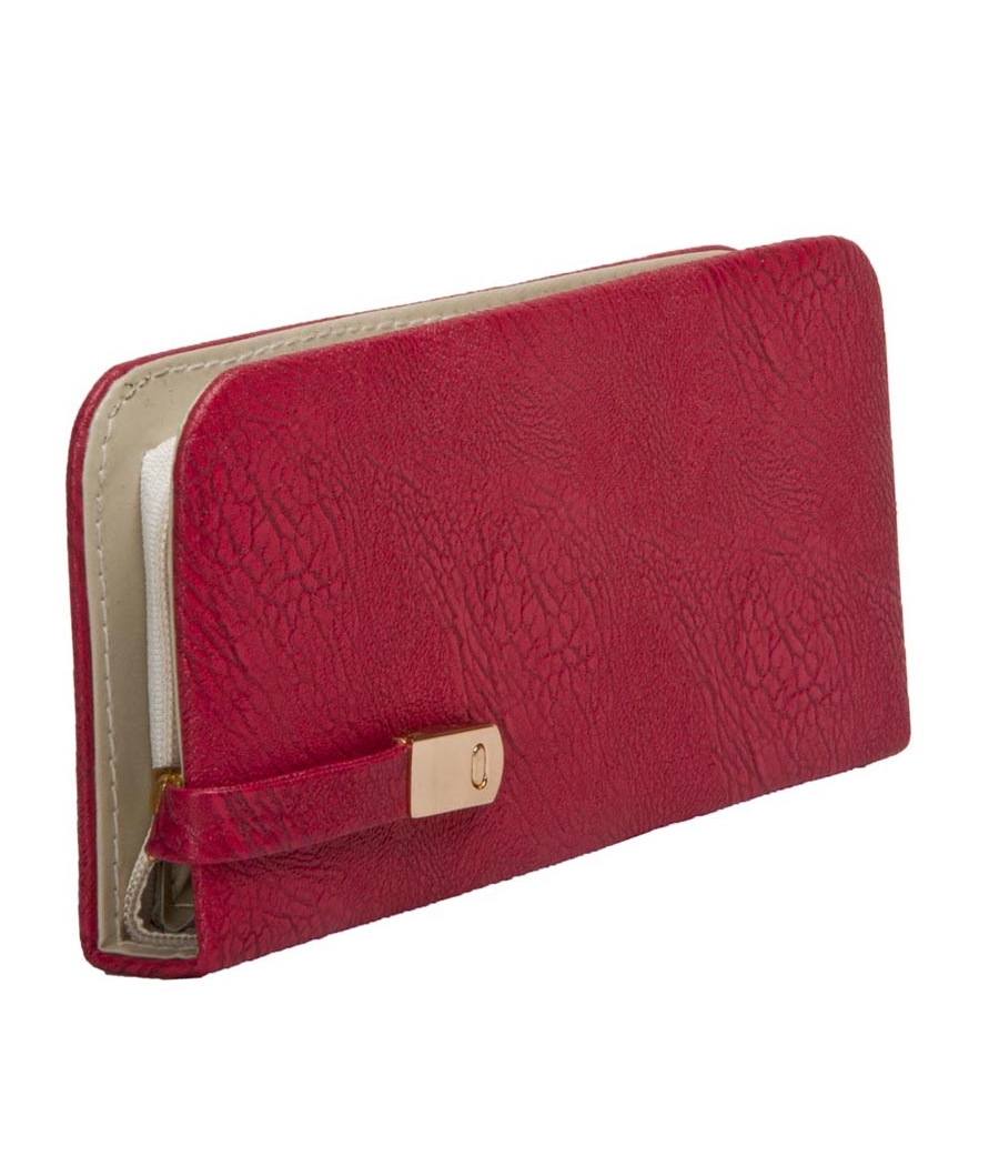 Envie Faux Leather Pink Tuck Lock Minaudiere Style Clutch