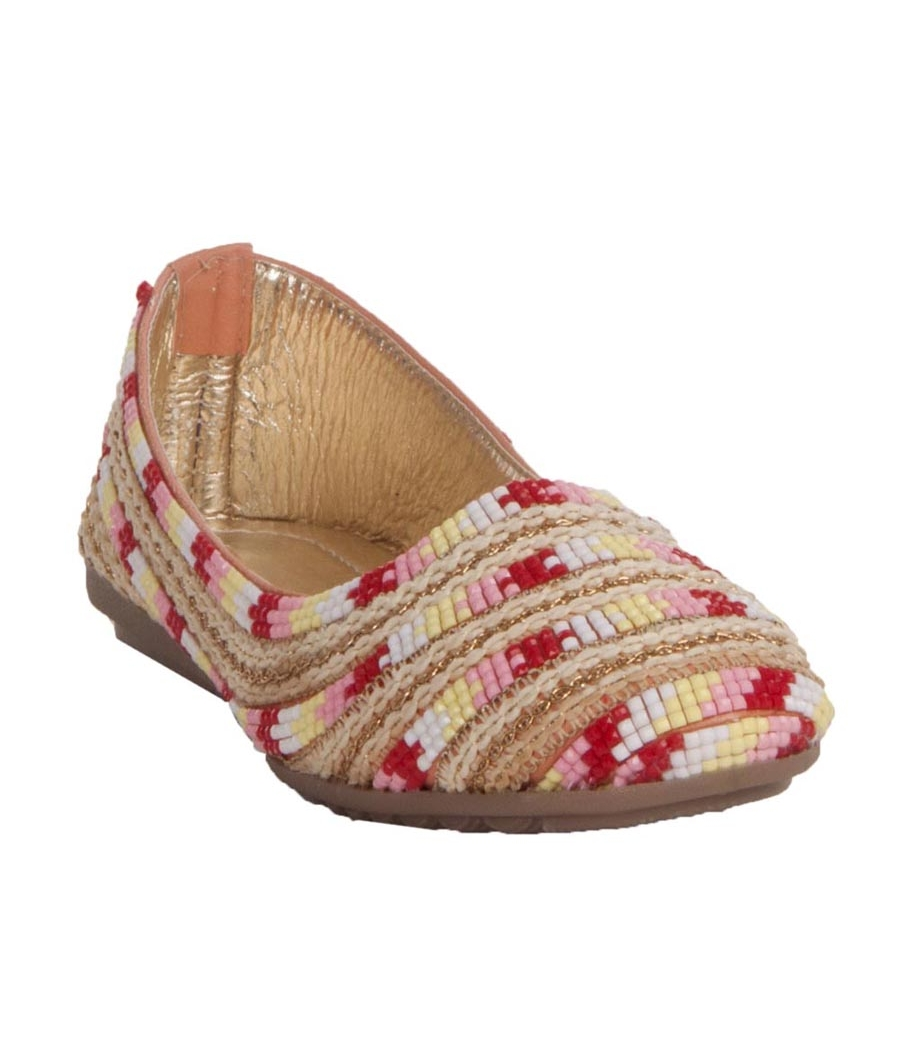 MCS Synthetic Leather Beige & Red Broad Toe Party Flats