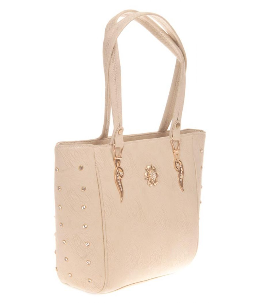 Aliado Faux Leather Solid Cream Zipper Closure Tote Bag for Women