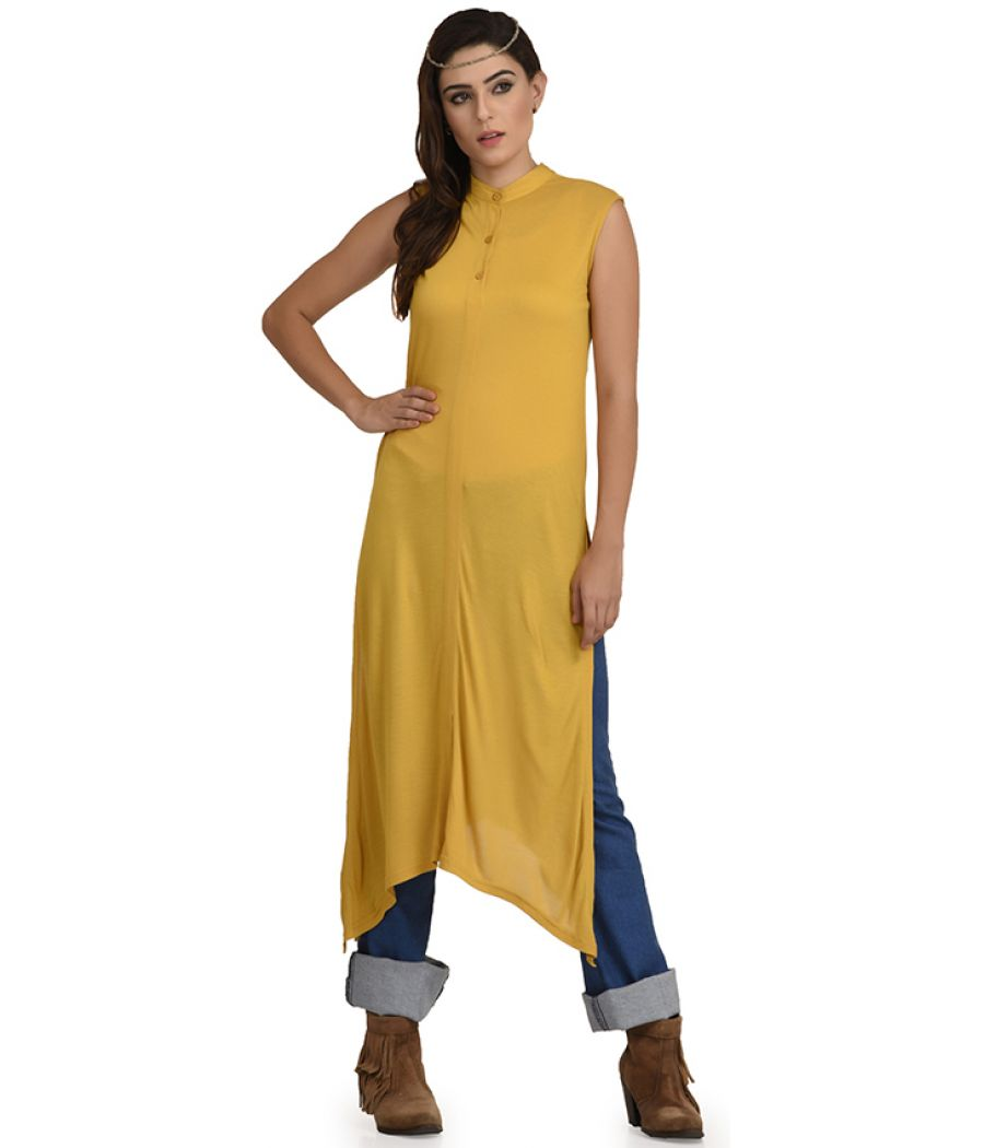 Estance Jersey Solid Asymmetric Mustard Maxi Top