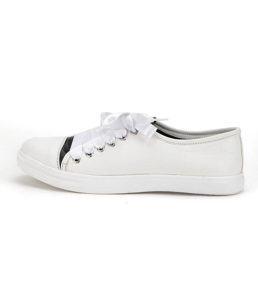 Estatos Leather White Coloured Broad Toe Flat Heel Sneakers