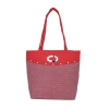 Aliado Jute Pink and Red Zipper Closure Bag