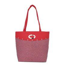 Aliado Jute Pink and Red Zipper Closure Bag