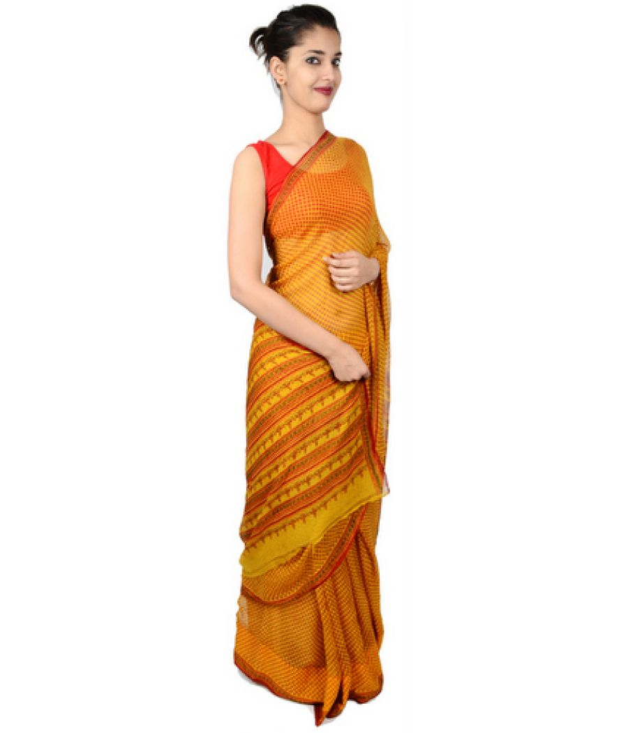 Etashee Certified Yellow Georgette Saree