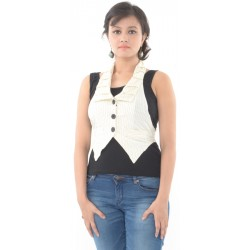 Etashee Certified Cream Waist Coat with Black Polka Dots