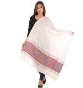 Sanida Woollen Self Design Paisley White/Multi Shawl