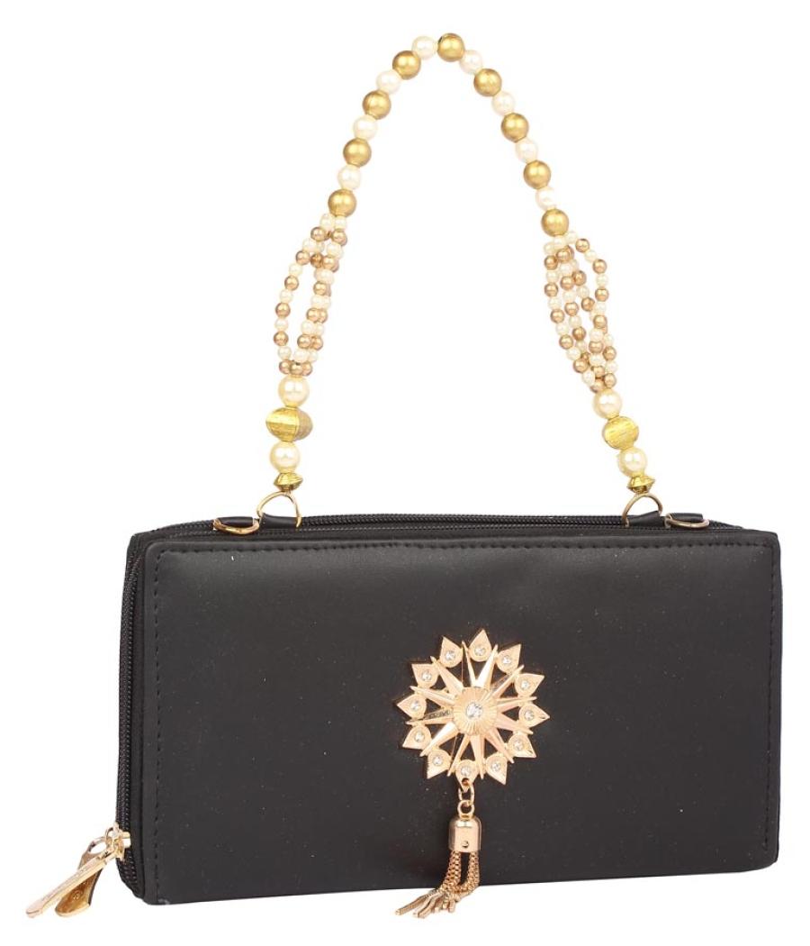 Envie Faux Leather Embellished Black Zipper Closure Crossbody Bag