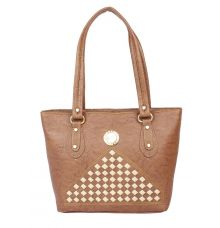 Aliado Faux Leather Coffee Brown Zipper Closure Handbag