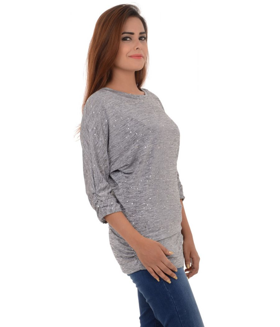 Quiz Polyester Gathered Grey Tunic