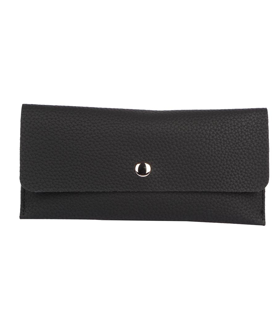 Envie Faux Leather Solid Black Magnetic Snap Wallet