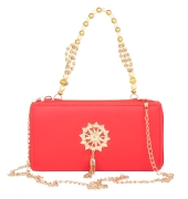Envie Faux Leather Embellished Red Zipper Closure Crossbody Bag