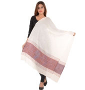 Sanida Woollen Self Design White/Multi Shawl