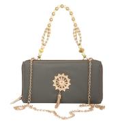 Envie Faux Leather Grey Melange Embellished Zipper Sling Bag