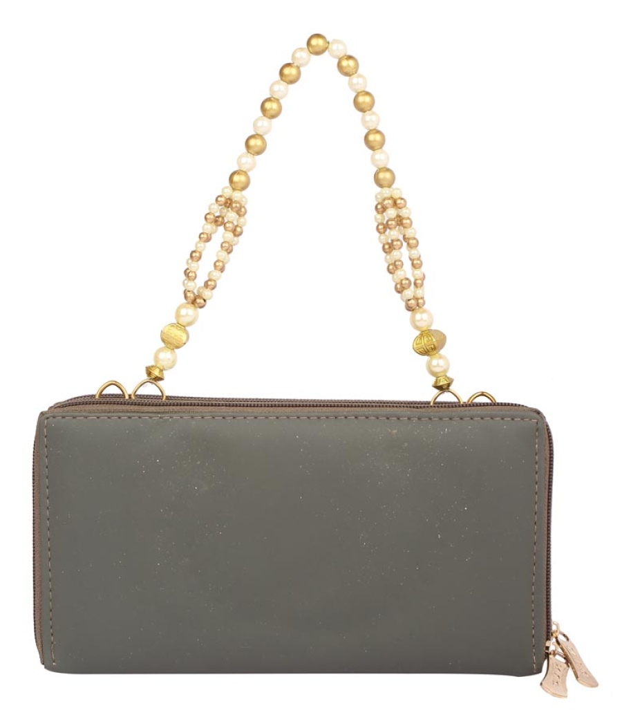Envie Faux Leather Grey Melange Embellished Zipper Sling Bag