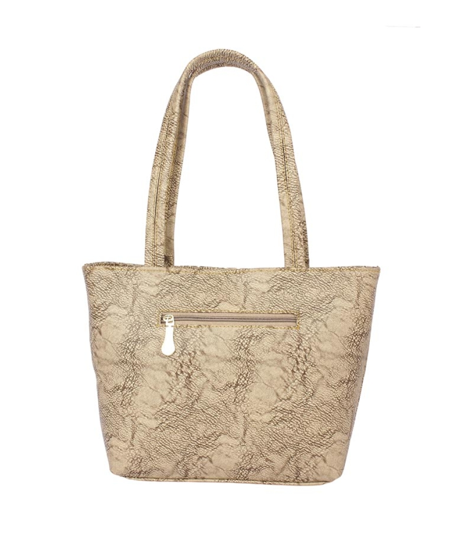 Aliado Faux Leather Cream Coloured Zipper Closure Tote Bag