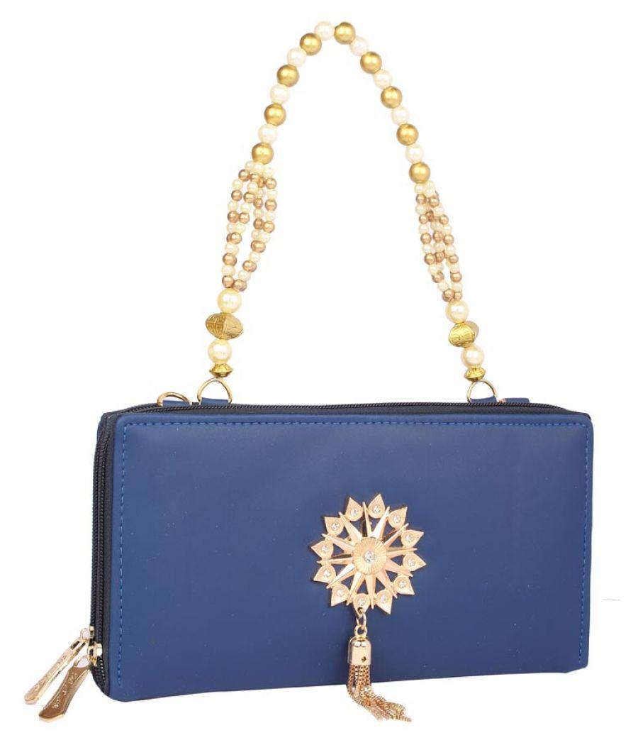 Aliado Faux Leather Blue Coloured Zipper Closure Handbag