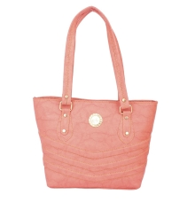 Aliado Faux Leather Peach Coloured Zipper Closure Tote Bag