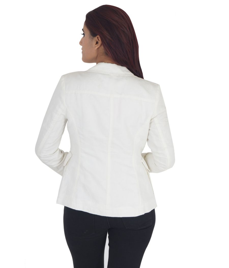 Gant Cotton Solid Cream Full Sleeves Button Closure Formal Jacket