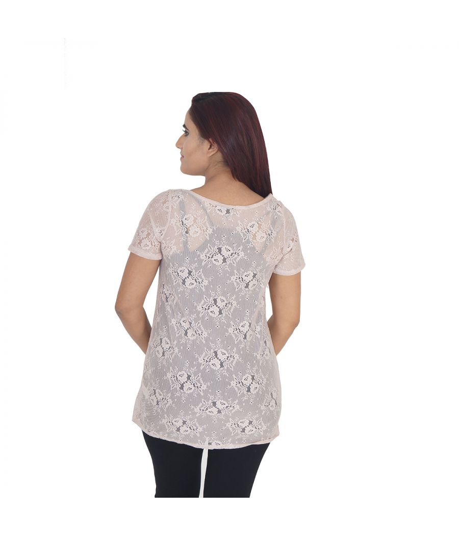 Warehouse Net Self Design Pink Coloured Half Sleeved Round Neck Casual Top