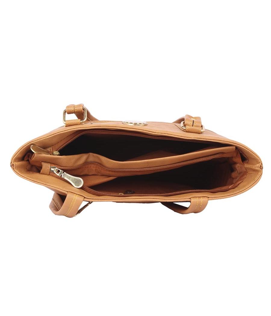 Aliado Faux Leather Mustard Coloured Zipper Closure Handbag